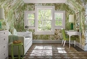 Double Hungs Windows in living green room