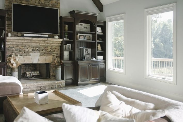 Infinity Casement windows in Stone White with White Hardware