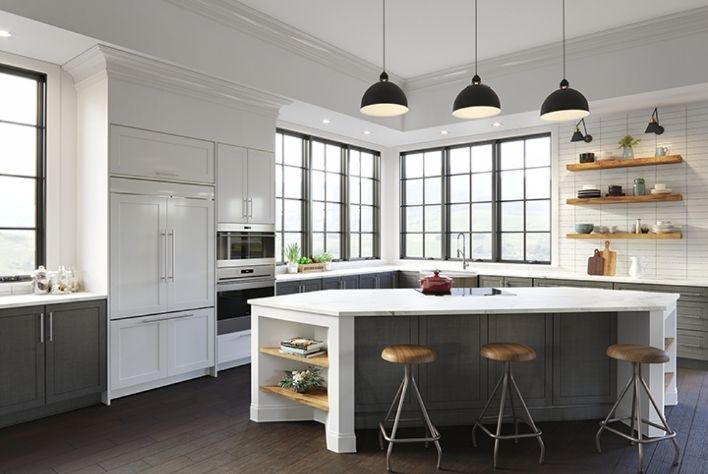 Interior Kitchen shot featuring an angled, closed Elevate Casement window in Ebony with Simulated Divided Lites
