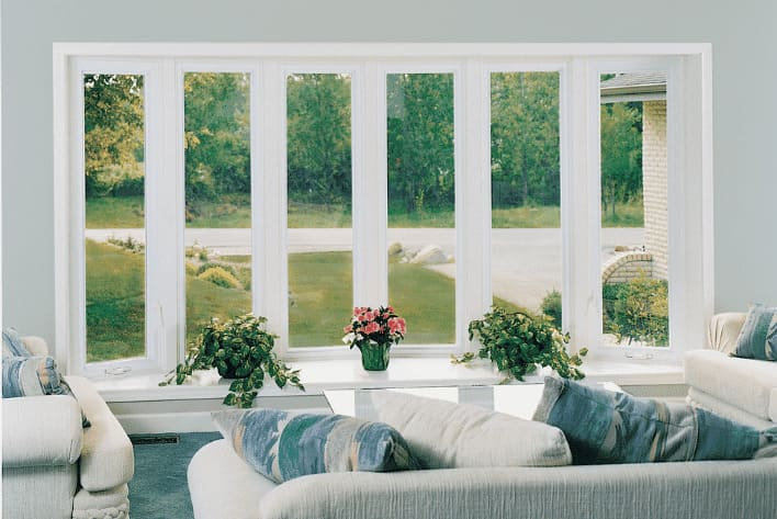 multi-panel bay window overlooking living room