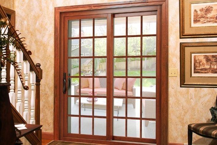 wood sliding door patio design in northern virginia home